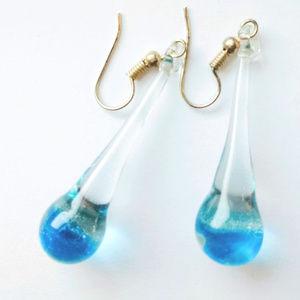 Jewelry - Golfinho Blow Glass Art Drop Earrings Blue Sea